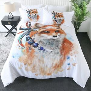 Watercolour Feather Fox Animal King Queen Twin Quilt Duvet Pillow Cover Bed Set