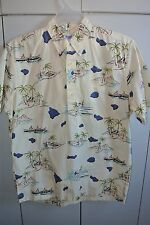 Reyn Spooner Mens Med  Surfers Diamond Head Outriggers Pullover on Yellow/Mint