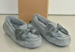 NEW Ugg Uggs CLARA GLAM BOW Slippers Moccasins Grey Suede Shoes 6 7 EU 37 38