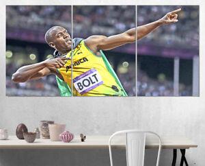 Usain Bolt Olympics Jamaica Wall Art Multi Panel Split Canvas Print 3 Piece