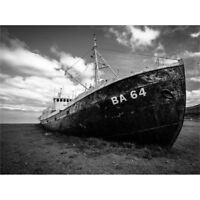 Ghost Abandoned Ship Boat Iceland Canvas Wall Art Print