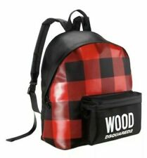 Wood Dsquared2 Backpack Black & Red Plaid Unisex Rucksack Style W/ Dust Bag new