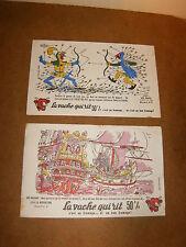2 buvards - LA VACHE QUI RIT ( LES DUELS N°3  +  LA NAVIGATION N°6 ) - 50's