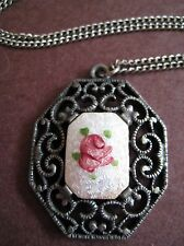 Vintage Guilloche Enamel Rose Filigree Pendant Necklace Antiqued Silver Tone