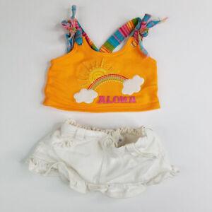Build a Bear Workshop Aloha Orange Tank Top White Denim Skirt Rainbow Clouds Sun