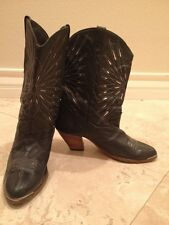 DINGO Black Leather Boots Womens Size 8 Silver Cowboy Wooden Heel Metal Western