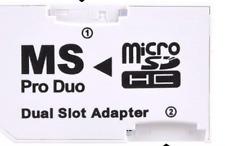 Micro Sd A Memory Stick MS Pro Duo PSP Tarjeta Doble 2 Slot Adaptador Convertidor