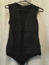 Women's Bodysuit S/M Brand New Cotton Black With Pattern And V Front