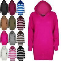 Womens Plain Chunky Knit Oversized Baggy sweater Ladies Hoody Tunic Jumper Dress