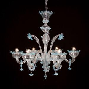 Muranese Imperiale chandelier in Murano glass 6 lights light blue crystal