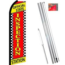 OFFICIAL STATE INSPECTION STATION (Checkered) Flutter Polyknit Feather Flag (11.