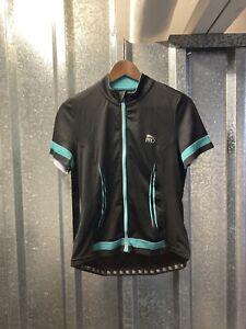 Crivit Pro Black Blue Short Sleeve Full Zip Cycling Jersey Size Medium