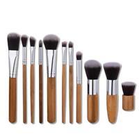 Handy 11pcs Mini Natural Bamboo Foundation Blending Makeup Brushes Tool SS US
