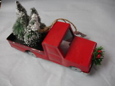 POTTERY BARN ORNAMENT METAL RED TRUCK PINE CHRISTMAS TREES