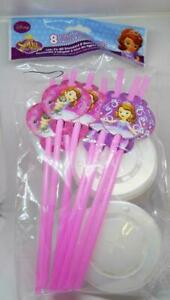 8 ct Sofia Princess Party Favor Straws with Lids the first Birthday Supplies New