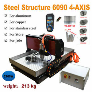Steel CNC 6090 4 Axis 2.2KW Mach3 Engraving Machine For Metal Copper Steel Brass