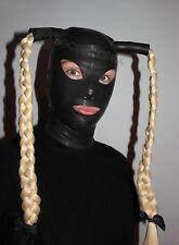 BLACK LATEX RUBBER GUMMI HOOD FULL HEAD TIGHT HANDMADE WITH PIGTAILS UK STOCK