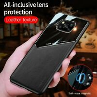 For Xiaomi Poco X3 NFC Luxury Magnetic Hybrid Leather Acrylic Camera Case Cover