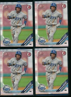 Lot of (4) WANDER FRANCO 2019 1st Bowman Draft Paper #100 Rays Rookie Card RC