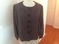 NWT ANTONIO MELANI Women's Brown Cotton Blend 3/4 Sleeve Lined Jacket Size 14