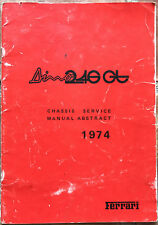 Ferrari  DINO  246 GT  E-Series   Chassis Service Manual Abstract   86/74