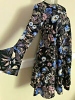 Gianni Bini MONA Floral Print Bell Sleeve Shift Crepe Dress NWT$109 HC160909