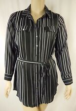 City Chic Black White Stripe Long Sleeve Tunic Top Plus Size XS 14 BNWOT C1019