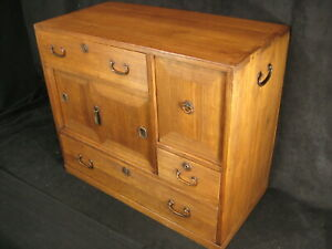 ANTIQUE JAPANESE 3 DRAWER  3 DOOR KIRI WOOD KO-DANSU TANSU CHEST LOCK & KEY