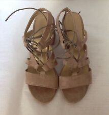 """Stuart Weitzman"" Taupe Suede Gladiator Dress Shoes, Size 6M"