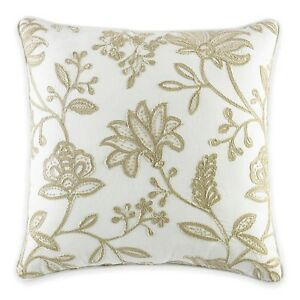 "CROSCILL 18"" Square DEVON Throw Pillow White (Natural), Embroidered, NEW"