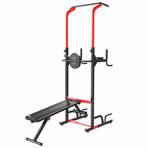 HOMCOM Power Tower Station Workout Equipment for Home Gym With Sit Up Bench