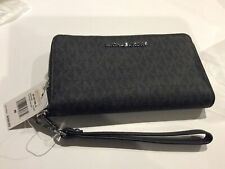 MICHAEL KORS JET SET TRAVEL LARGE TOP ZIP SIGNATURE BLACK WRISTLET NWT $158 MSRP