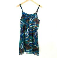 Poetry Clothing Dress Tunic Womens Sz Medium Blue Green Elastic Waist Sleeveless