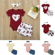 3PCS Baby Girls Infant Clothes Set Floral Romper Jumpsuit Bowknot Shorts Outfits
