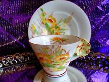MELBA  ENGLAND HAND PAINTED YELLOW ROSE FLOWER HANDLE 3 D TEA CUP AND SAUCER
