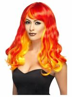 NEW Ombre Red & Orange Devil Flame Wig Halloween Fancy Dress Costume Accessory