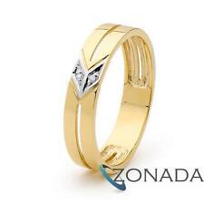 Elegant Diamond Set 9k 9ct Solid Yellow Gold Men's Ring 25350