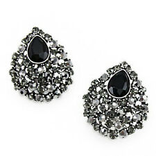 LOVELY BRAND NEW GENUINE BLACK AND GREY AUSTRIAN PAVE CRYSTAL CLIP-ON EARRINGS