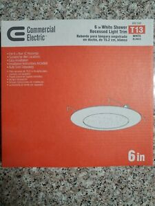 Commercial Electric 6 in White Shower Recessed Light Trim, New T13