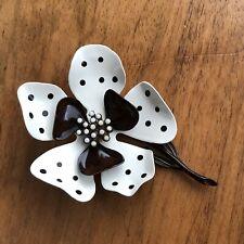 Vintage Hedy Hedison Brown & White Polka Dot Enamel Metal Flower Brooch Pin
