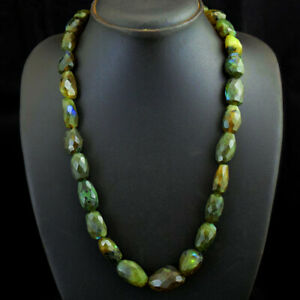 531 Cts Earth Mined Single Strand Labradorite Faceted Beads Necklace JK 07E303