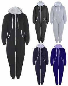 New Mens Ladies Unisex Plain 1Onesie1 All In One Hooded Jumpsuit Sizes S - 5XL