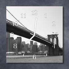 Glass Wall Clock Kitchen Clocks 30x30 cm silent Bridge Black & White