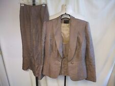 Ladies Outfit Frank Usher UK 10 - jacket, top & skirt, fawn with high sheen 8294