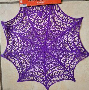 Halloween PURPLE Vinyl Spiderweb Placemats Decor Set of 4 NEW