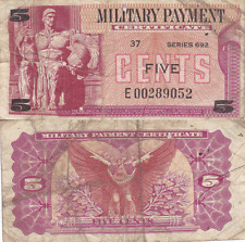 Military Payment Certificate Series 692 5 Cent Replacement Vietnam Era Very Good
