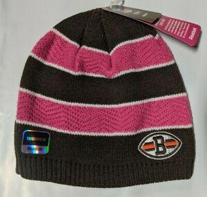Cleveland Browns Knit Beanie Toque Winter Hat Skull Cap BCA Pink Stripe Women's