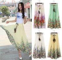 Women's Peacock Feather Boho Beach Maxi Dress Elastic Waist Long Pleated Skirt