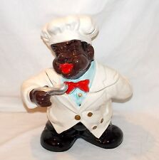 "New 14"" X-Large 3d Black African American Chef Cook Ceramic Cookie Jar Canister"
