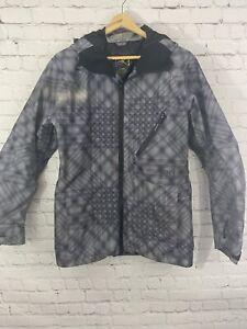Burton AK GORTEX SNOWBOARD SKI JACKET Geometric Pattern BLACK WHITE Gray XS